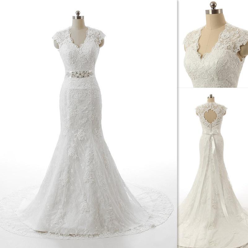 Real Photo Mermaid Wedding Dresses 2016 White Full Lace V