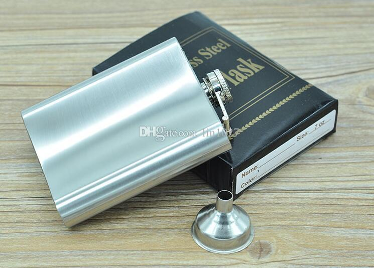2016 hot sale stainless steel 7oz hip flask Carry the jug with Small funnel by DHL