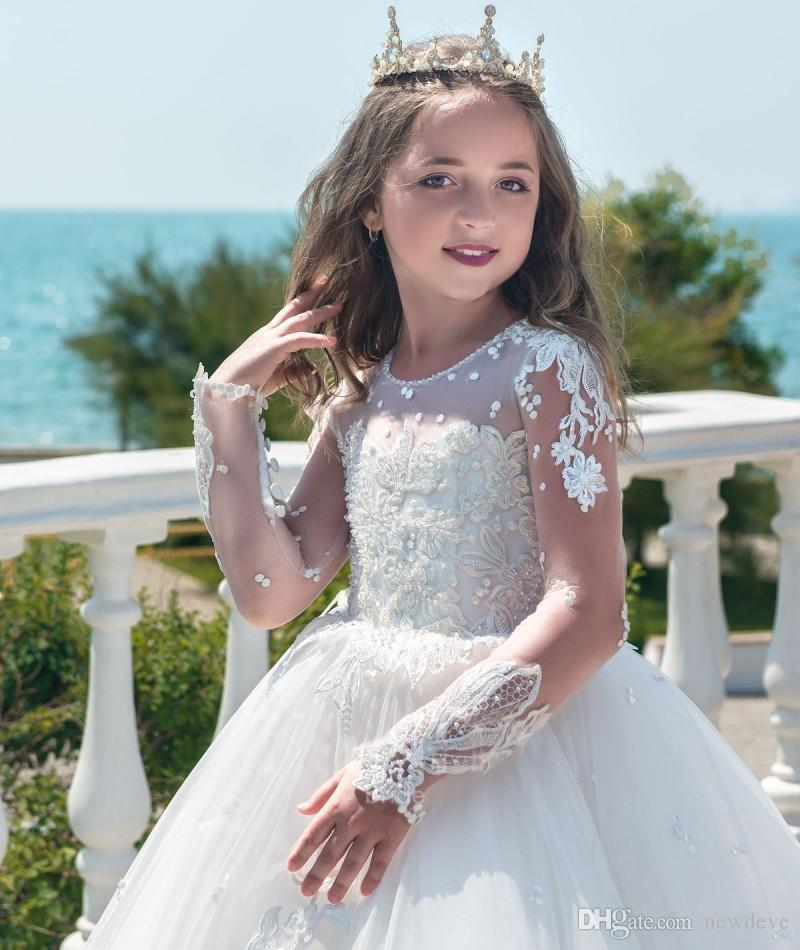 Long Sleeve Princess White Flower Girl Dresses Full Applique Jewel Neck Pageant Dresses Communion Wear Kids Wedding Gowns