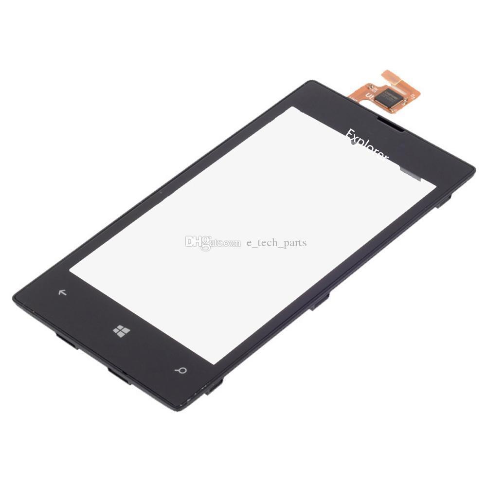1 adet çok Testi montaj Çerçeve% 100 Orijinal yeni Ücretsiz kargo ile Nokia Lumia N520 520 LCD Ekran + Dokunmatik Ekran Digitizer için geçti
