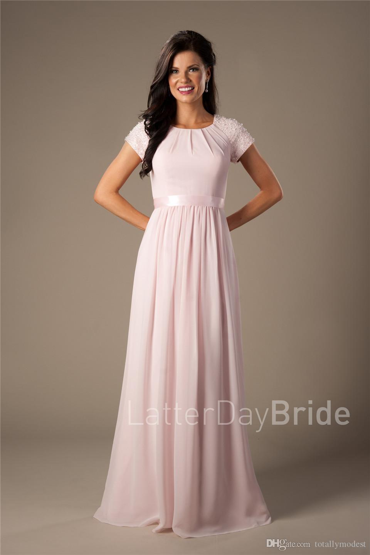 Beaded Pink Long Chiffon Modest Bridesmaid Dresses With Cap Sleeves Elegant Evening Wedding Party Dresses A-line Floor Length Custom Made