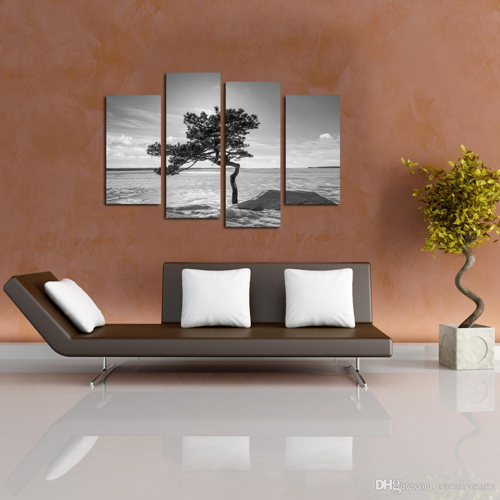 Black and White Artwork Trees and Stones Canvas Prints Wall Art Modern Seascape Paintings Giclee Artwork for Living Room and Bedroom