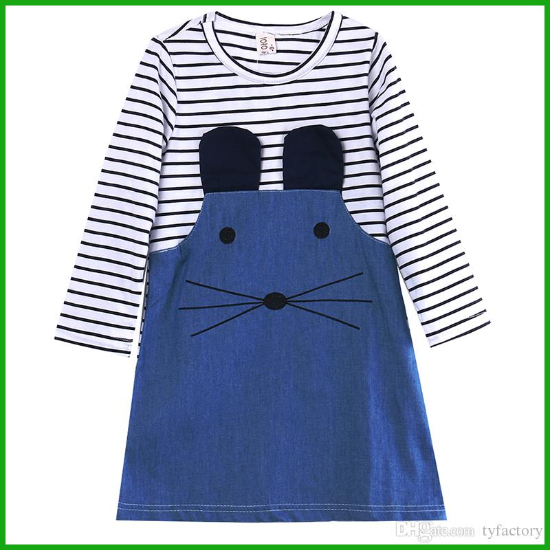 heißer verkauf niedliche maus gestreiften jeans baumwolle baby mädchen kleid kinder kleidung vestido kinder outfits kostüm frei siipping