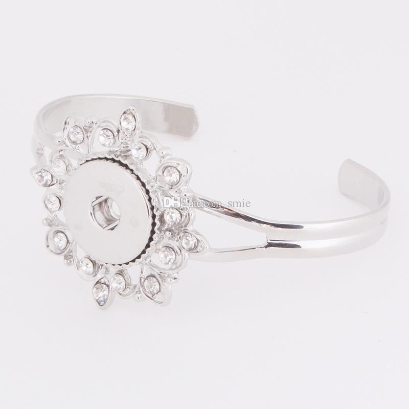 Noosa pedaços Botão Snap Jóias Banhado A Prata de cristal Gengibre Botão Snap Pulseira Jóias Intercambiáveis para as mulheres