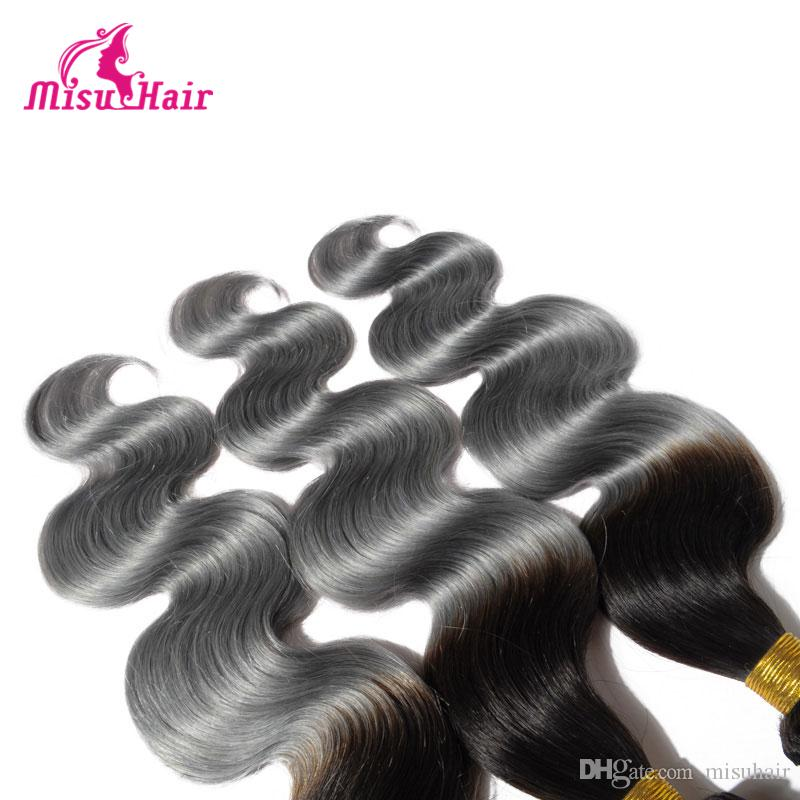 Ombre 1B Grey Color Hair Extensions Body Wave Virgin Hair Wavy Two Tone Wigs Brazilian Malaysian Indian Peruvian Hair Wefts