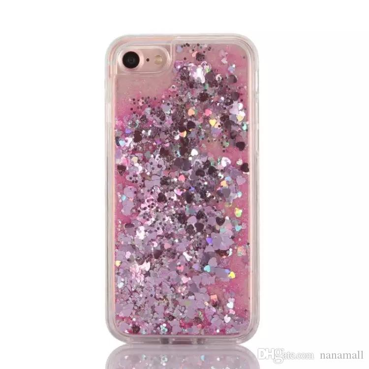 Fun Glitter Sand Quicksand Star Liquid Back PC Case Skin Cover Shell For Iphone 7 Iphone 7 plus Love heart moving capa