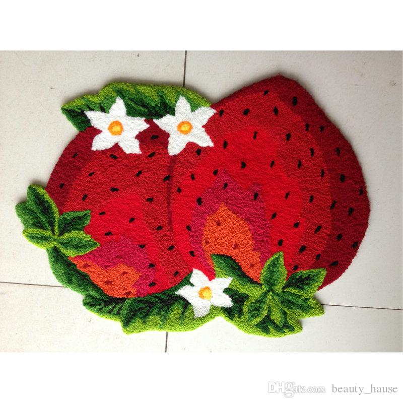 Strawberry House Door Mats Pastoral Style Floor Mat Children Kids Bedroom Doormat Suede Classic Animal Bathroom Carpet Gift