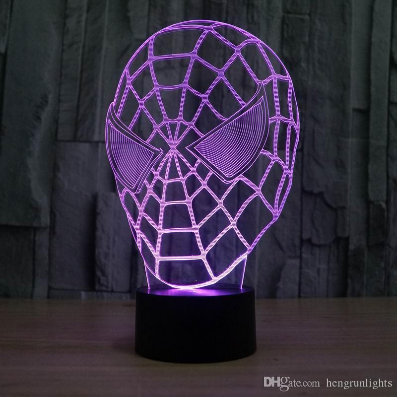 Lampe créatif fantastique Spiderman masque 3D LED Décoration Chambre Veilleuse pour les enfants Les enfants de couchage Lampe Lampe led
