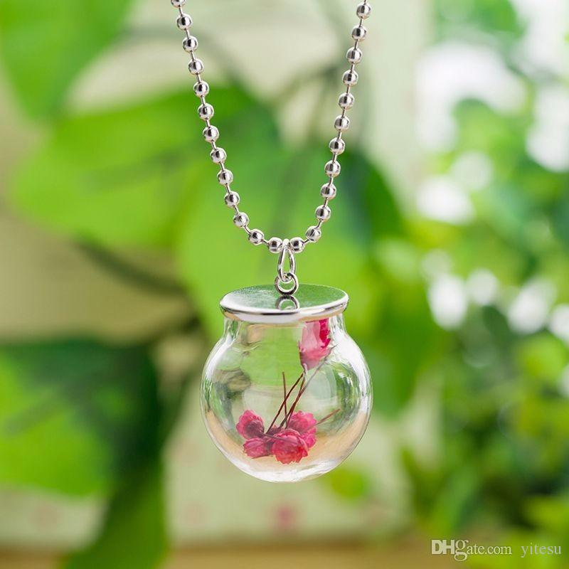 Wishing Bottle Statement Sweater Necklace Glass Bottle Dried Flowers Bead Chain Necklace Silver Tone Pendant Best Christmas Gift For Kids