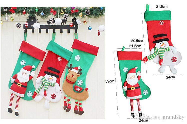 Новое Прибытие 2017 рождественские чулки декор орнамент украшения партии Санта Рождество чулок конфеты носки сумки рождественские подарки сумка DHL Оптовая