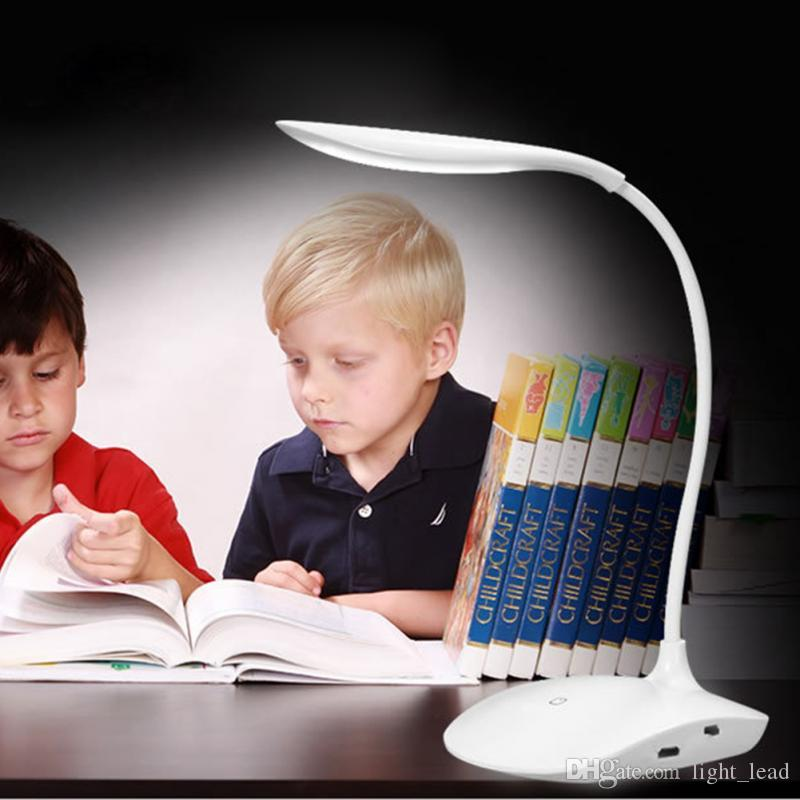 600LUX Brightness 360 degree USB Rechargeable Touch Sensor LED Table Lamp 3 level Dimmable Reading Study Desk Light