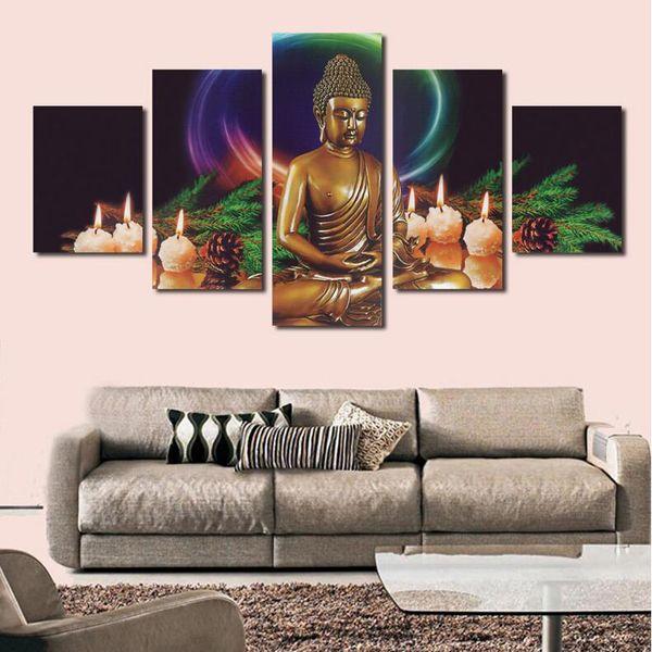5 peças coloridas figuras de impressão Buddha abstrato pintura HD pintura moderna arte da parede fotos casa decoração do presente