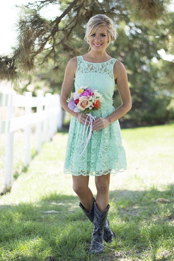 2016 Land Mint Green Lace Short Mini Brautjungfer Kleider Abendkleid für Junior Adult Brautjungfer für Hochzeiten Party Cabrio Kleider