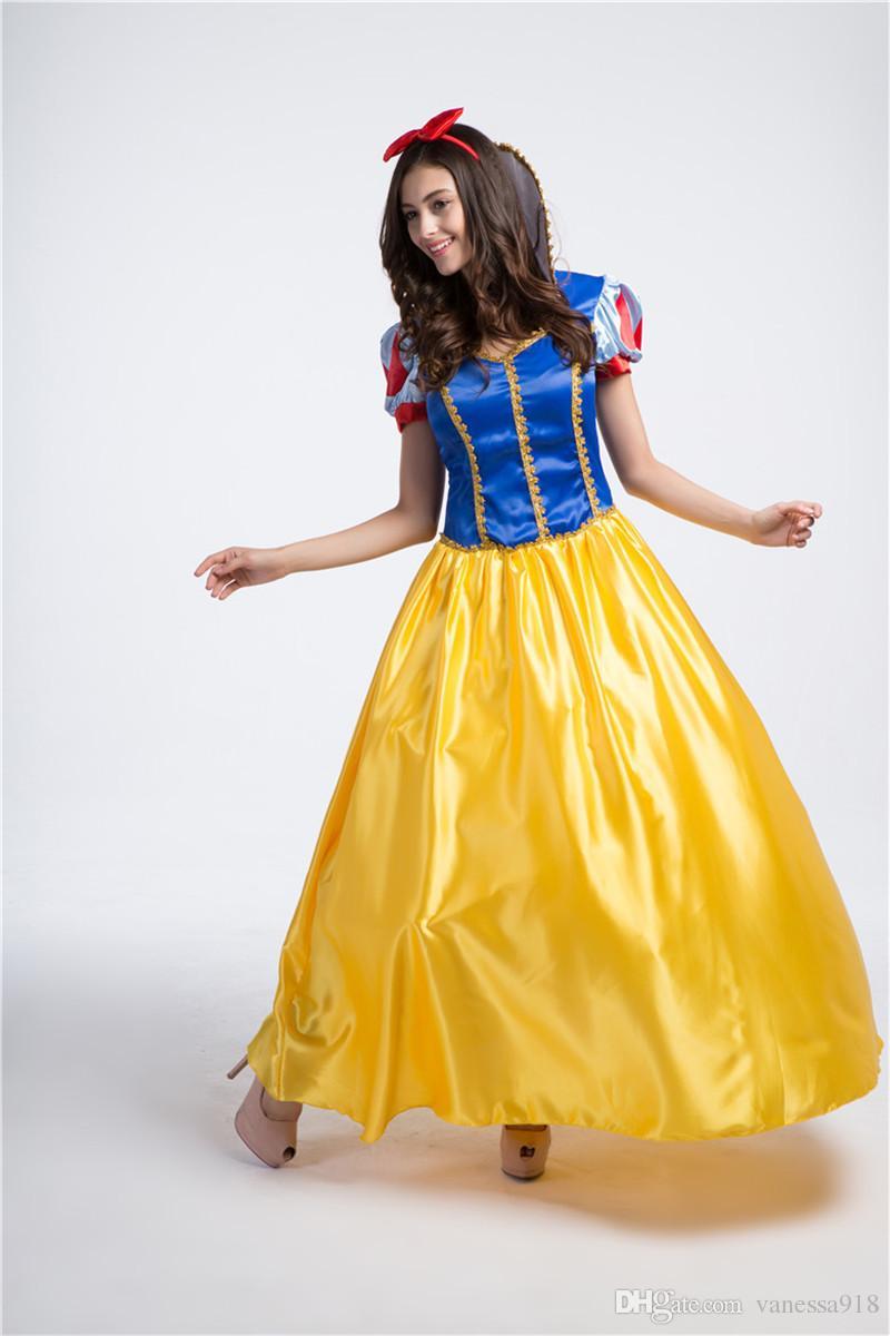 großhandel kostüme prinzessin kleider erwachsene phantasie cosplay  halloween kostüm für frauen gelbe fantasien kleid nähen mit kostenlosen