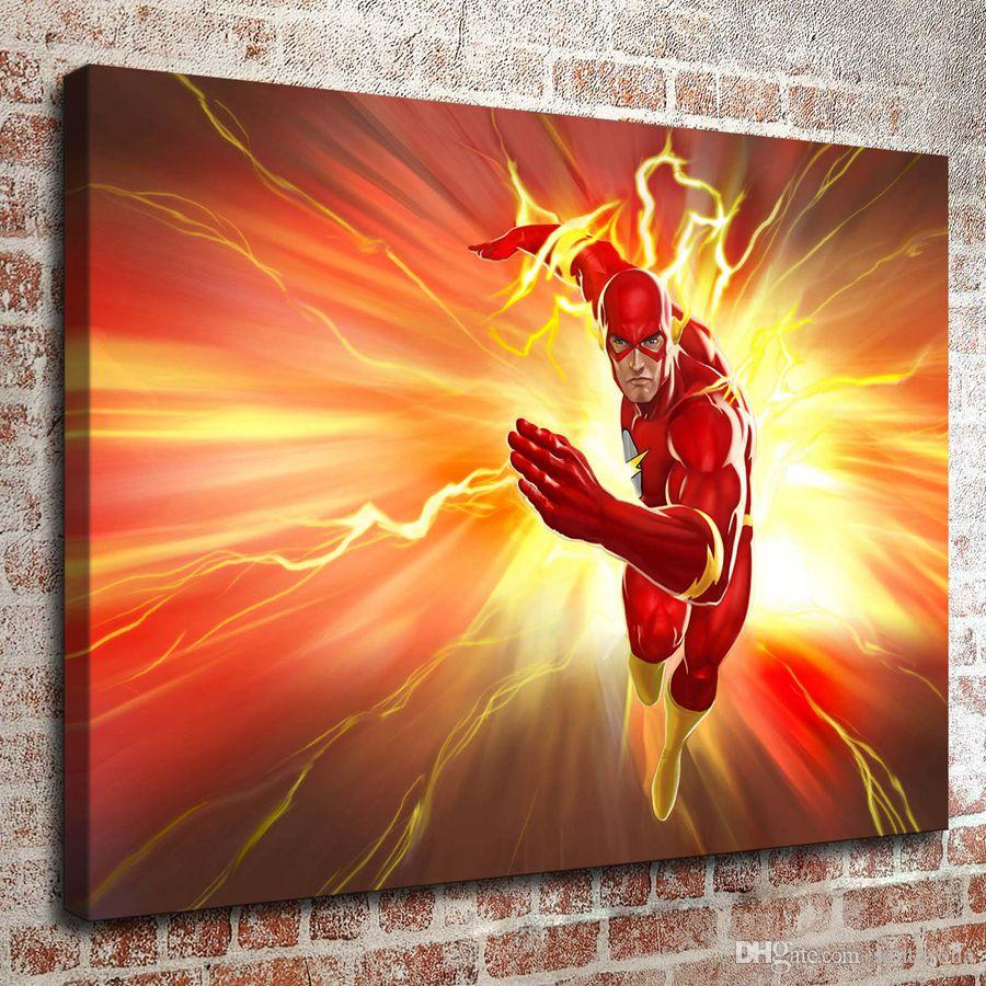 No Frame Dc The Flash Series Hd Canvas Print Wall Art Oil Painting