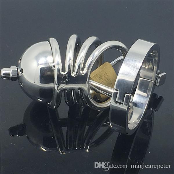 Nuovo design in acciaio inox castità dispositivo ragazzo castità gabbia bondage gabbia giocattoli del sesso il maschio MKC035