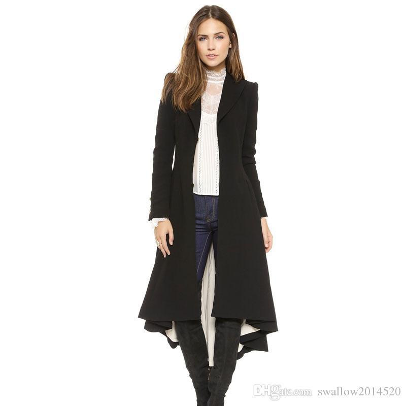 2016 Yeni victoria Marka Moda Turn-aşağı Yaka Ince X-Uzun Trençkot Kış Yün Coat Kadın Palto Kırlangıç Artı Boyutu
