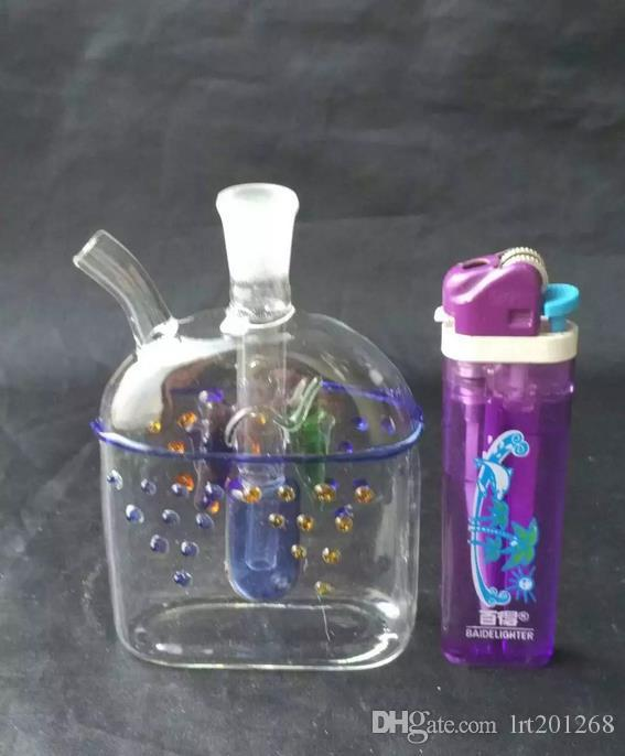 Pisces flat-color glass pot --glass hookah smoking pipe Glass gongs - oil rigs glass bongs glass hookah smoking pipe - vap- vaporizer