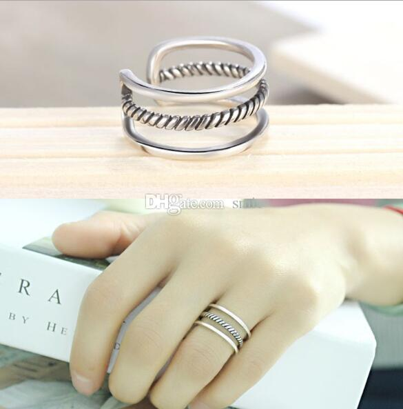 Vintage 925 Silver Plated Simple Three Wire Open Rings Fashion Anti ...