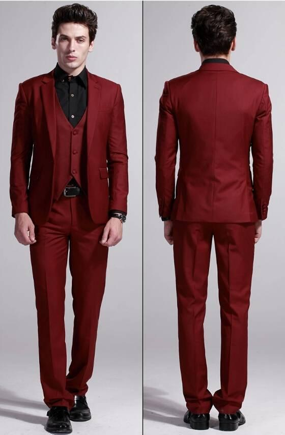 High Quality New 2016 Wine red Business Casual Men Dress Wedding Suits For Men Wedding Groom Suit Slim Fit