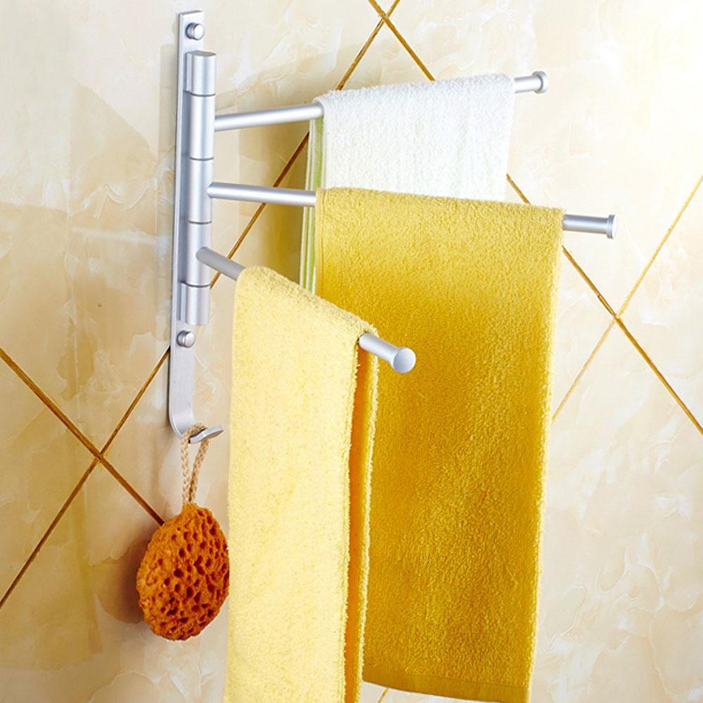 Алюминиевая вешалка для полотенец 3 поворотных штанги Поворотная планка Настенные аксессуары для ванной комнаты Держатель для кухонных полотенец Вешалка Prateleira
