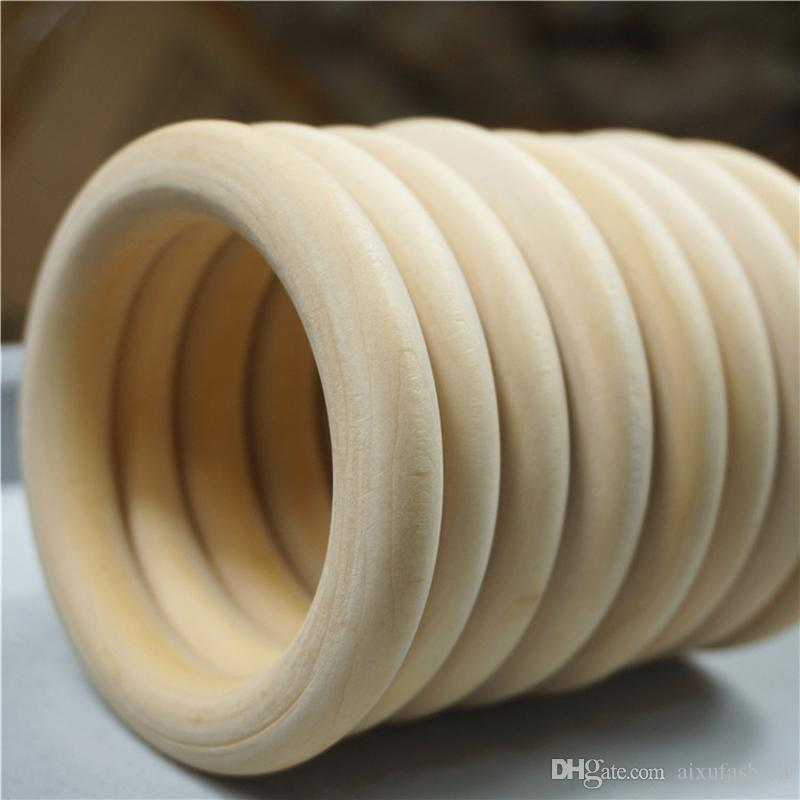 40-70mm Natural Wooden Beads Connectors Circles Wood Rings Beads Lead-Free Round Unfinished Natural Wood Jewelry Making Findings