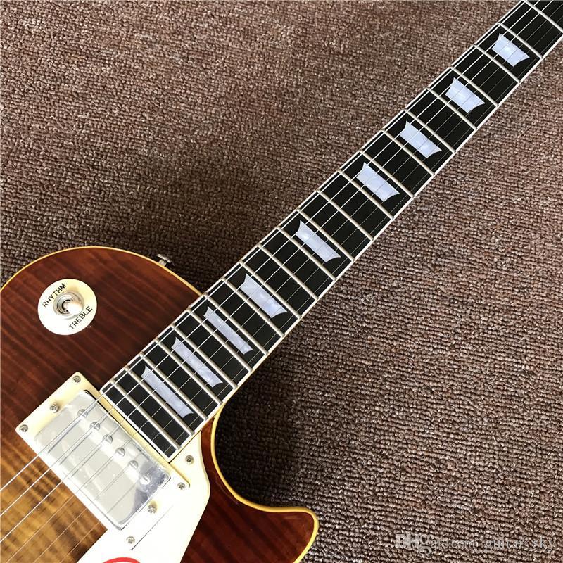 strumenti musicali di vendita caldi OEM 1959 R9 Tiger Flame chitarra elettrica di lusso finito modo con hardware Chrome! alta qualità