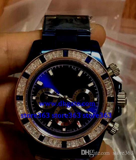Cadeau de Noël MENS SWISS WATCH 116520 bleu DIAL noir ACIER INOX 40MM Diamond lunette Montre automatique