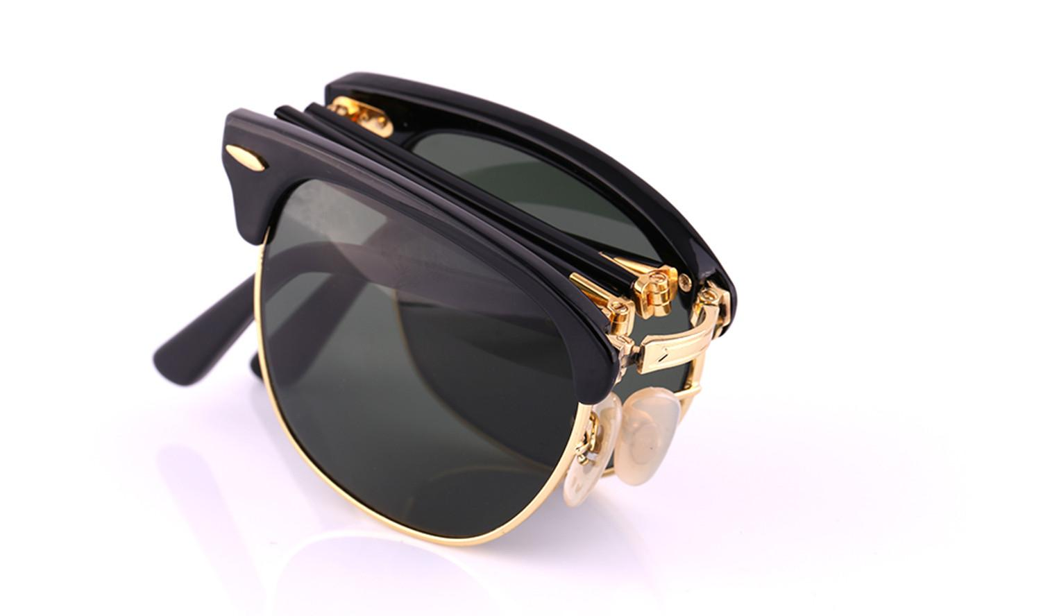 AOOKO Hot Sale Newest Fashion Classical fold Sunglasses Master Folding Glasses Rollaway Women Brand Designer Men Spectacles with box 51mm