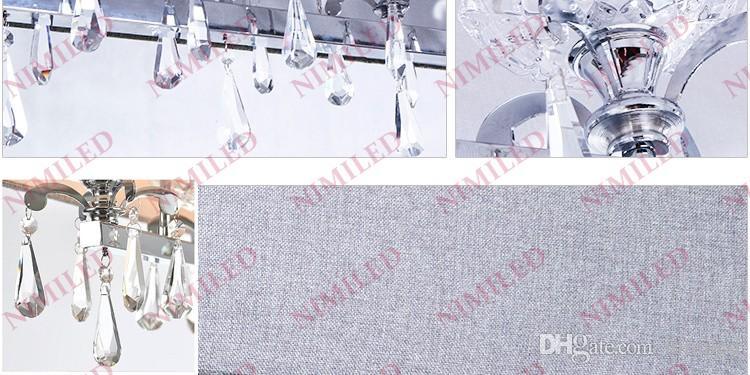 nimi735 L80 * W22 * H36cm moderna sala da pranzo rettangolo di cristallo ciondolo grigio chiaro paralume in tessuto camera kicthen soggiorno lampadario illuminazione