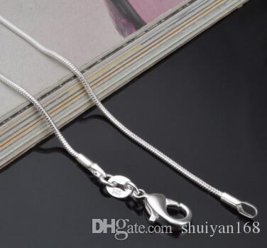 Стерлингового серебра 925 змея ожерелье мода гладкая цепь карабинчиком Fit кулон 1 мм 16-24 дюймов Рождественский подарок