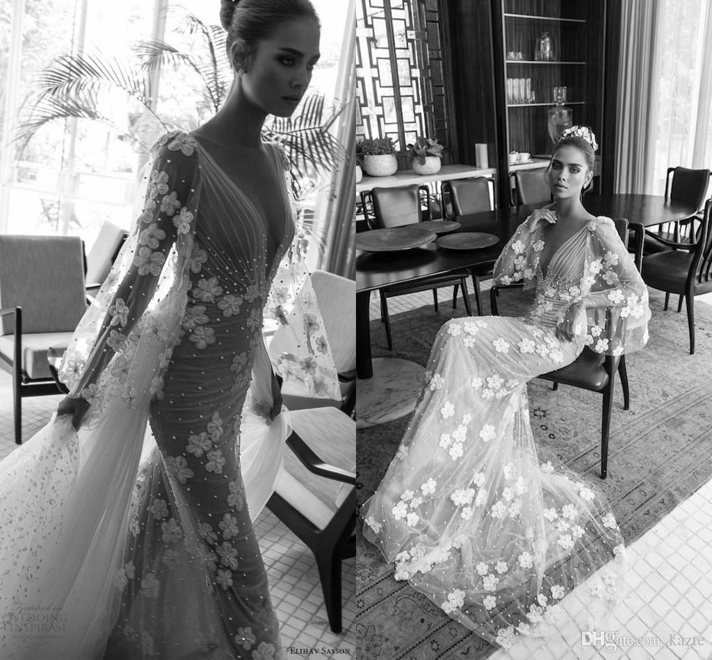 40705ac6724 Elihav Sasson 3D Floral Loose Long Sleeve Wedding Dresses With Detachable  Train 2018 Vintage V Neck Beaded Flower Garden Church Wedding Gown Mermaid  Wedding ...