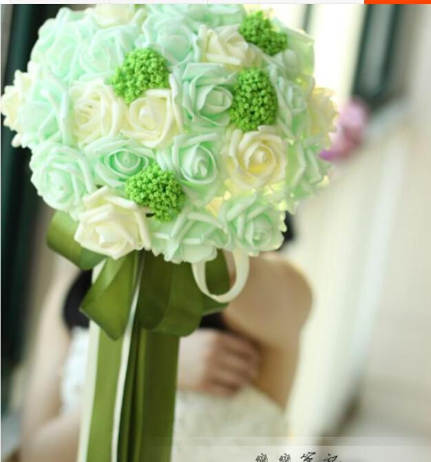 2016 cheap bridal bouquets flowers foam rose artificial wedding bouquets ivory and mint green mix elegant bridal holding flowers artificial flower bouquets