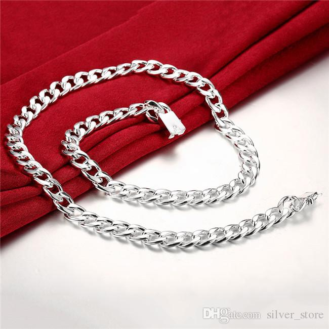 Heavy 115g 10MM Quartet buckle sideways male models sterling silver necklace STSN011,fashion 925 silver Chains necklace factory direct sale