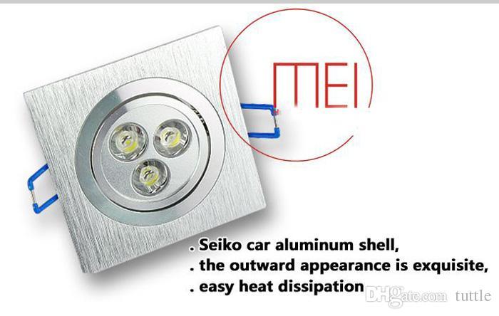 Светодиодный потолочный светильник с регулируемой яркостью освещения 9W 3X3W 600 Люмен Светодиодный потолочный светильник Встраиваемые светильники Теплый натуральный холодный белый AC 110-240V