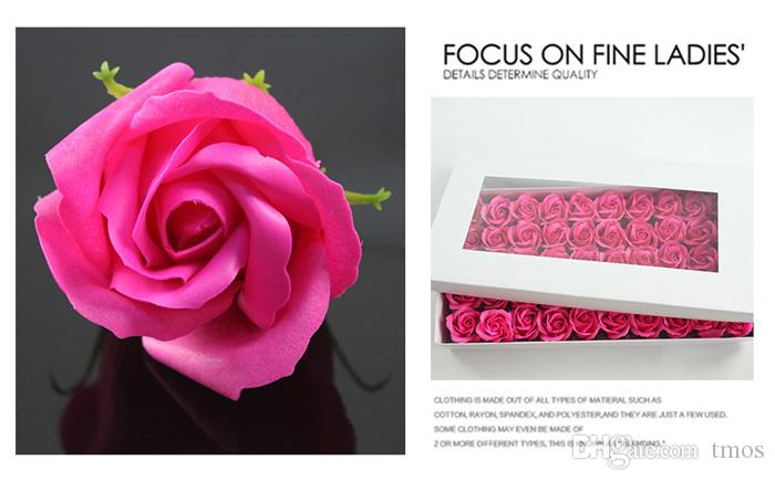 Elegant Color Rose soap 4 Layer creative DIY for holiday wedding gift flower head with calyx wholesale Gift box Packaging