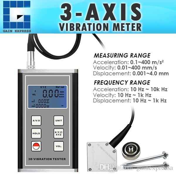 VM-6380 Digital Vibration Meter 3-Axis Piezoelectric Accelerometer Sensor  Measures Periodic Motion Displacement
