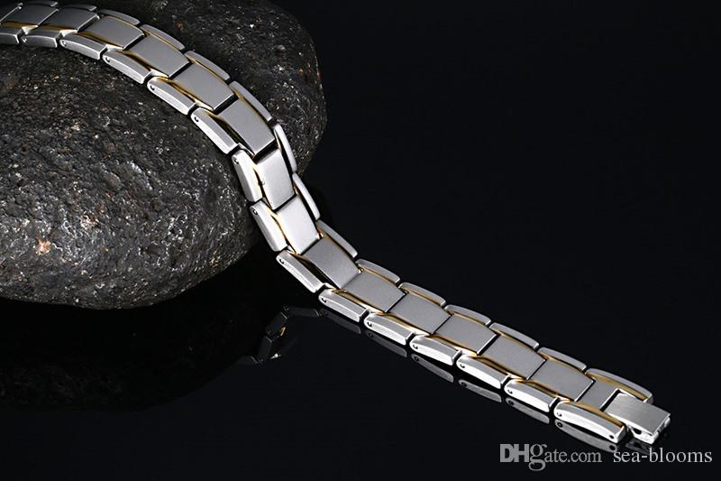12mm Men Titanium Magnetic Therapy Bracelet Element Magnets Relief for Arthritis Pain Charms Wristband Gold Silver Bracelet B863S