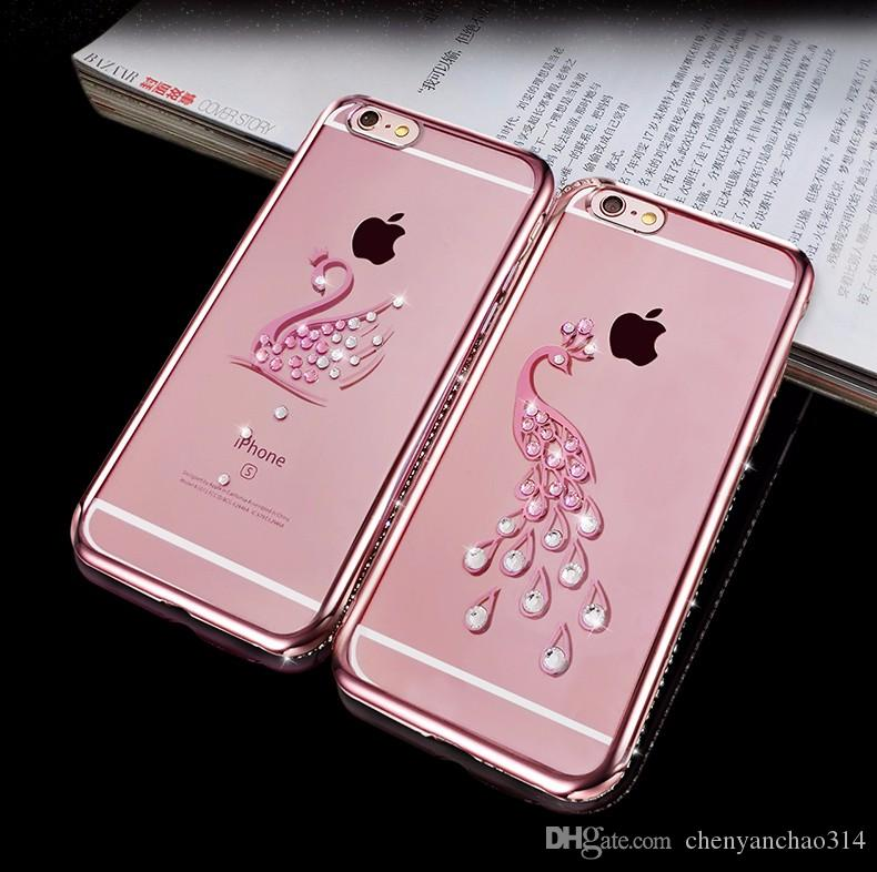 Coque en TPU de luxe Bling pour Apple iPhone 5S SE Couverture arrière en silicium Celular pour iPhone 5 Swan Peacock Motif Case pour 5SE