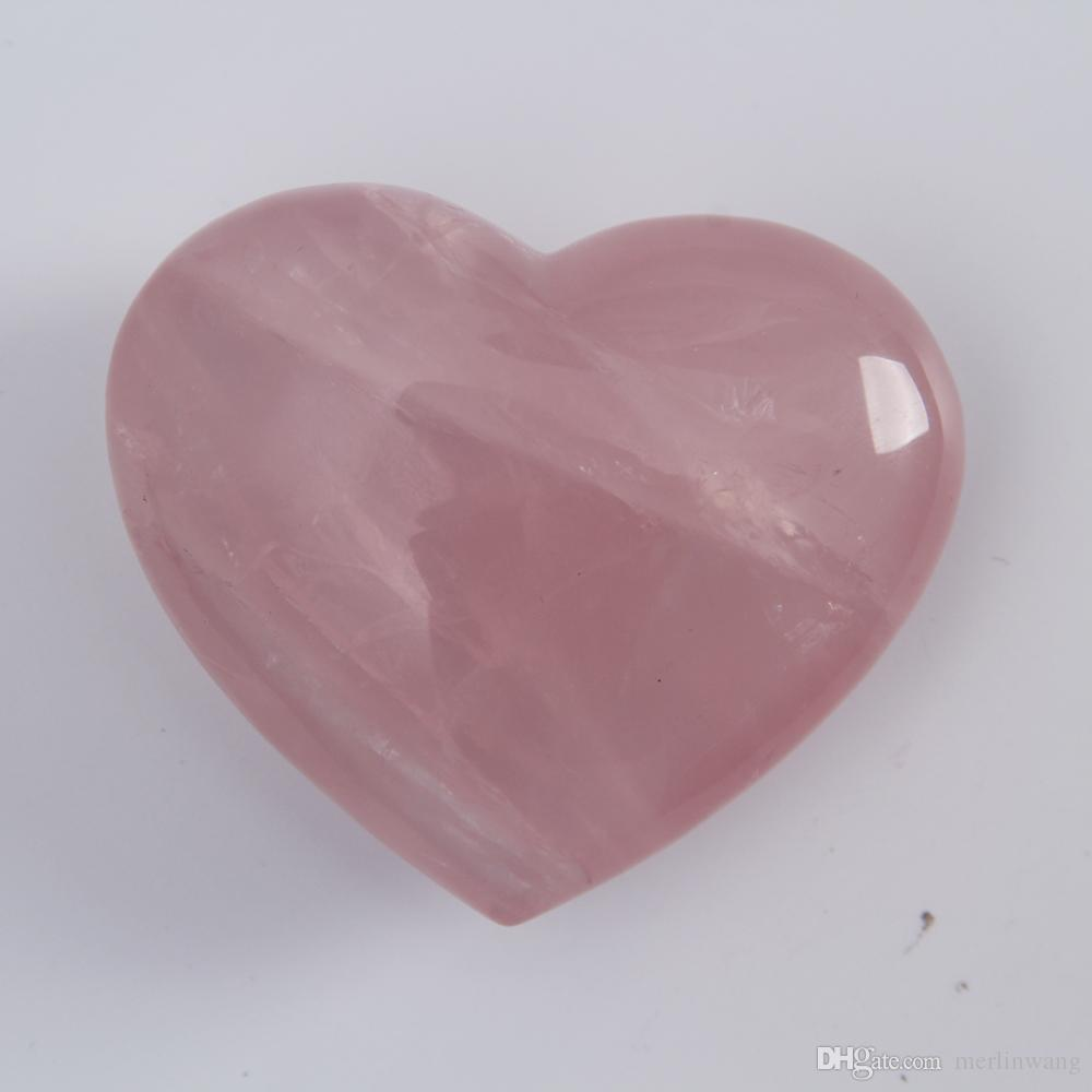 2.3inch Quartz rose crystal Heart Carving Craft Stone Chakra Healing Reiki Stones Lover gife stone crystal Heart