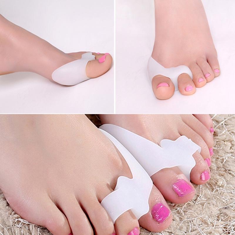 Двойной петли усиленные 5 пар силикагель мягкие ноги Toe Protector обувь уход за ногами Toe колодки Белый прибл. 78 x 50 x 22 мм