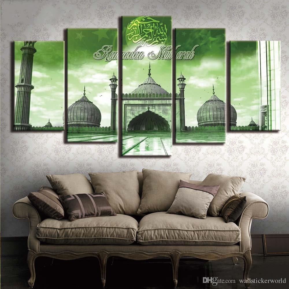 5 pezzi HD Prints Musulmano islamico Ramadan Building Poster Picture Canvas Wall Art Dipinti per Liviong Room Decor Artwork