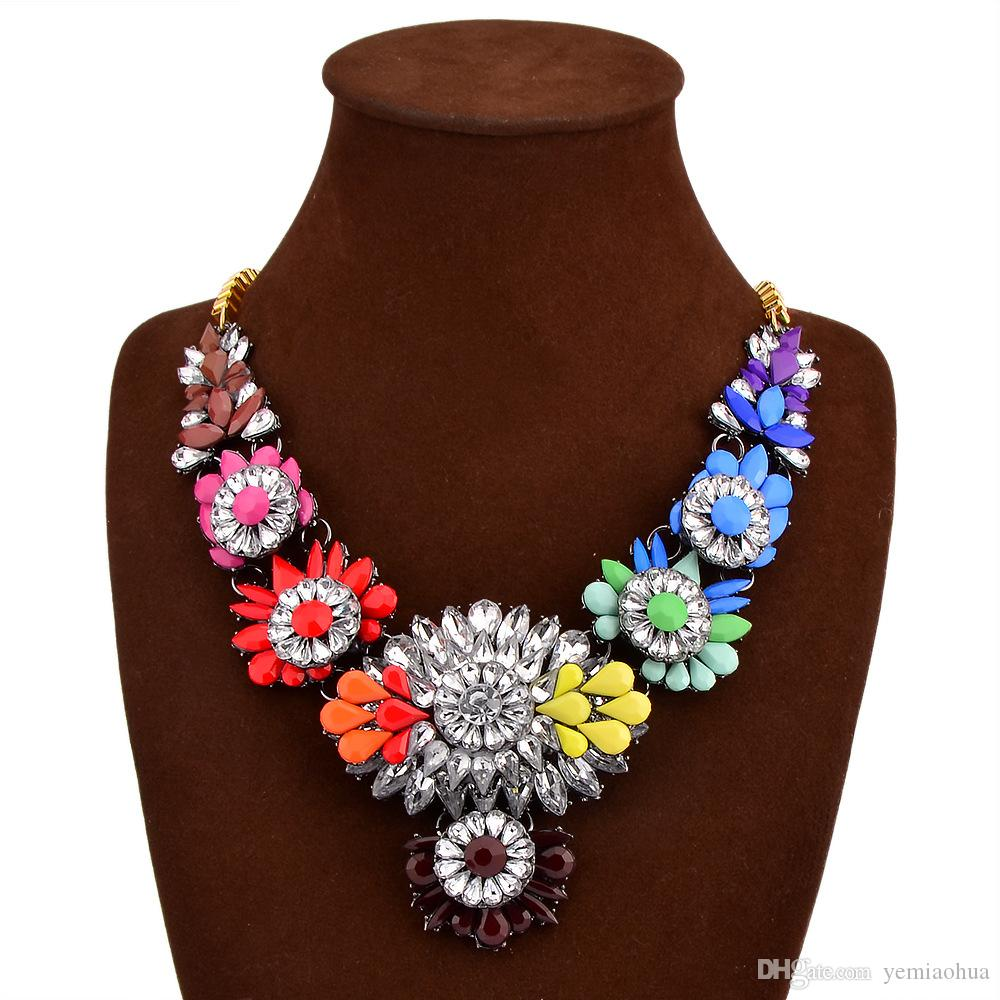 Floral Colorful Rhinestone Trendy Multi-colored Flowers Chunky Colorful Crystal Flower Statement Necklace Choker High Quality Floral Jewelry