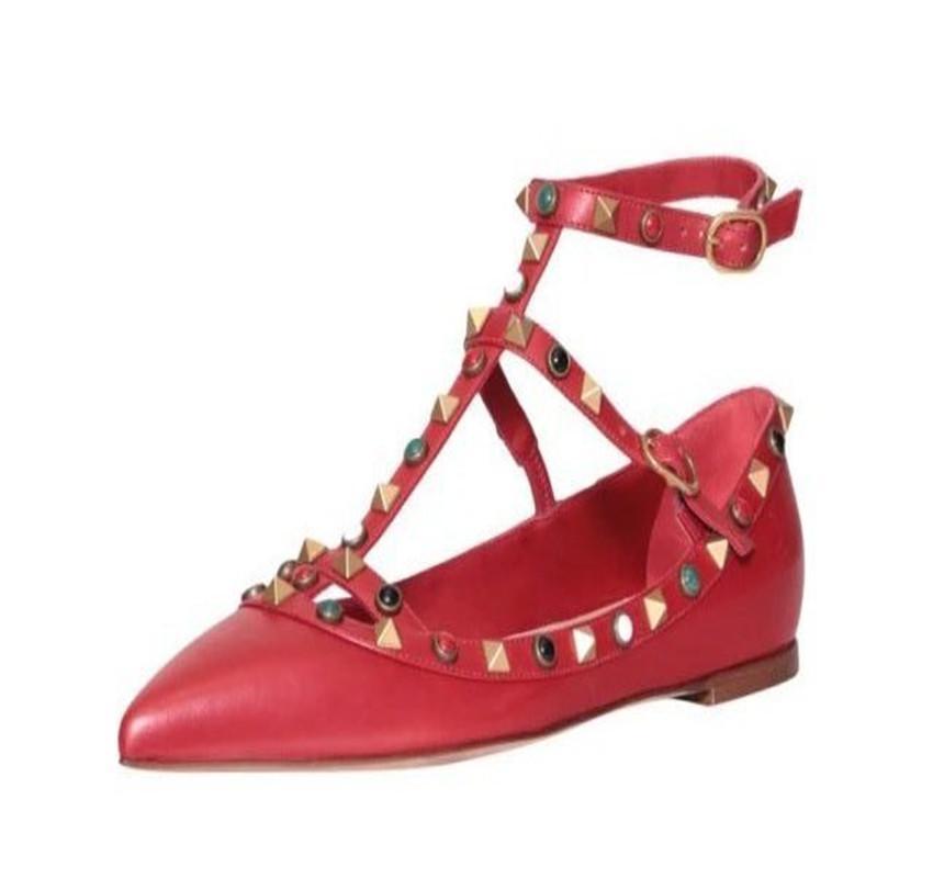 hecho a medida * de alta calidad! u563 34/40 cuero genuino gema tacones tacones sandalias pisos v bombas 7.5 / 10cmjewel zapatos