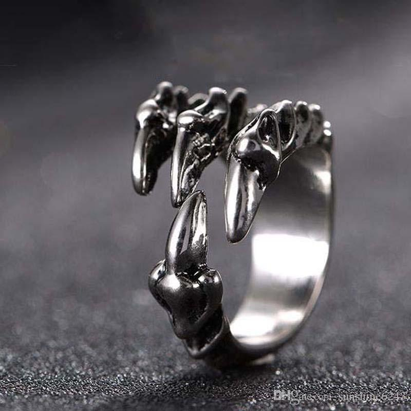 Punk Rock Stainless Steel Mens Resizable Dragon Claw Rings Vintage