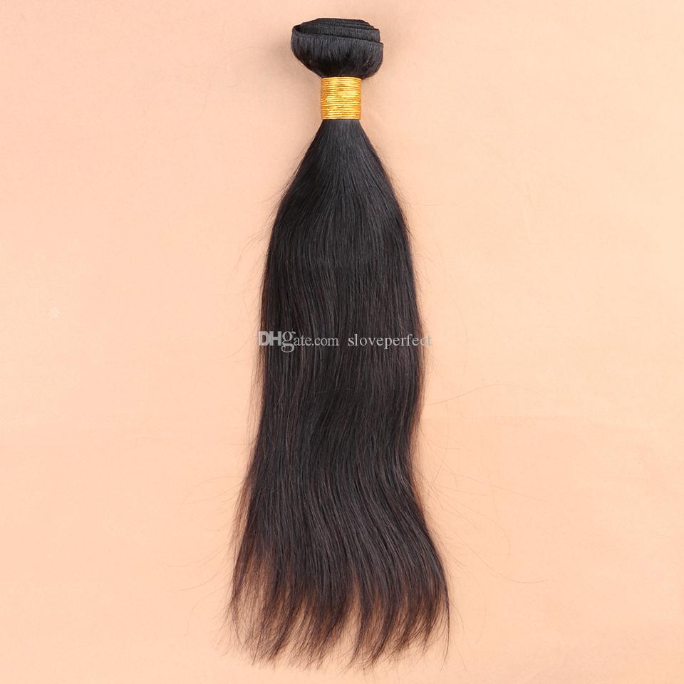 slove Hair Products!Peruvian Human Hair Weft Extension Mix Silky Straight Hair Weaving Natural Black Fast !!!