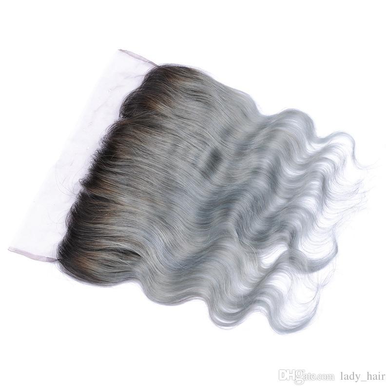 Brasilianisches reines Haar Silber grau Ombre Spitze Frontal Schließung 1B / grau zwei Ton farbige Körperwelle 13x4 Ohr zu Ohr Spitze Frontal Stücke