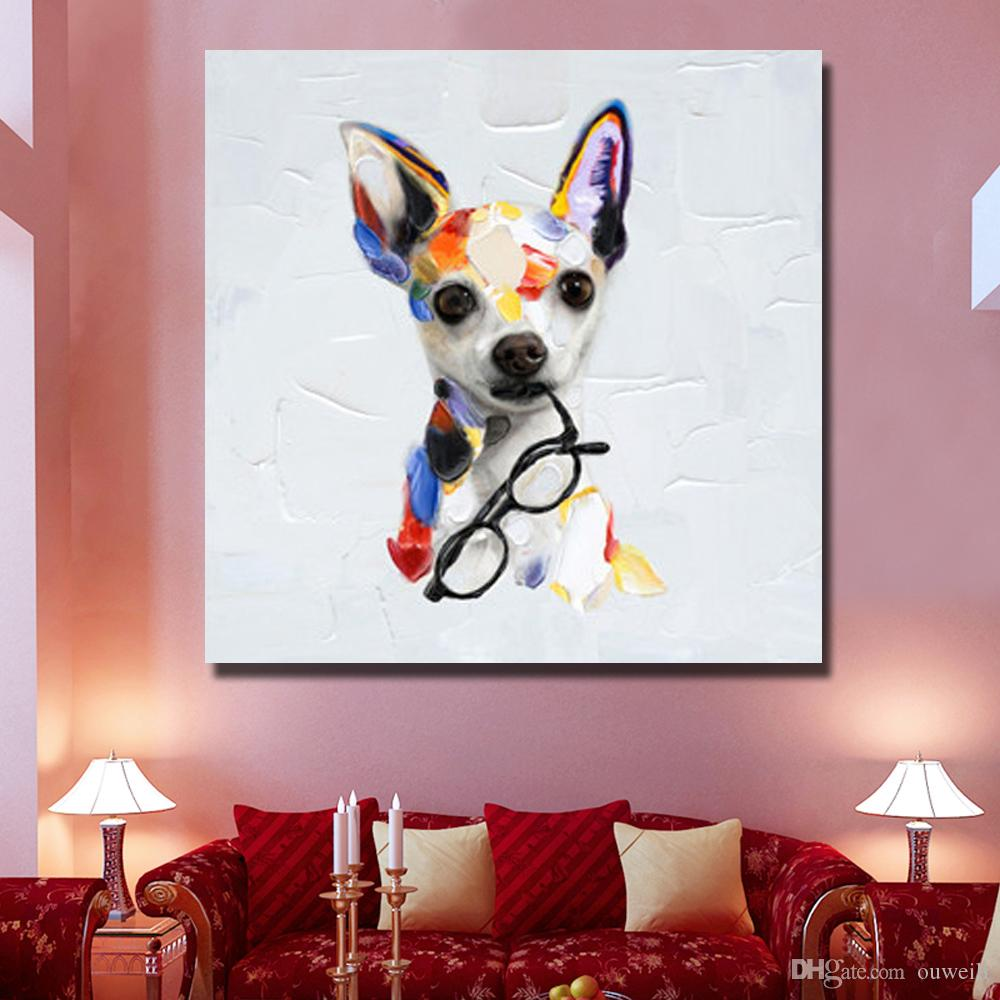 2016 newest design decorative home goods oil painting handmade lovely pet dog wall pictures for bedroom