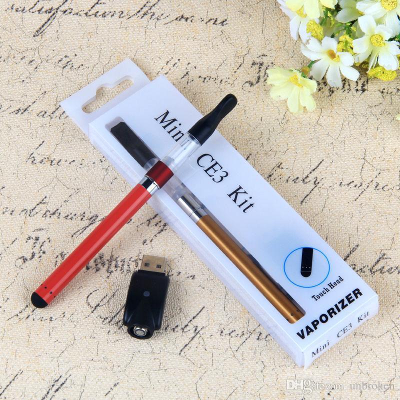 Горячие продажи Мини CE3 Blister Kit Vaporizer бутон Сенсорный Аккумулятор 280 мАч CE3 510 Картридж испарителя бак vape ручки E Сигареты Blister Kits