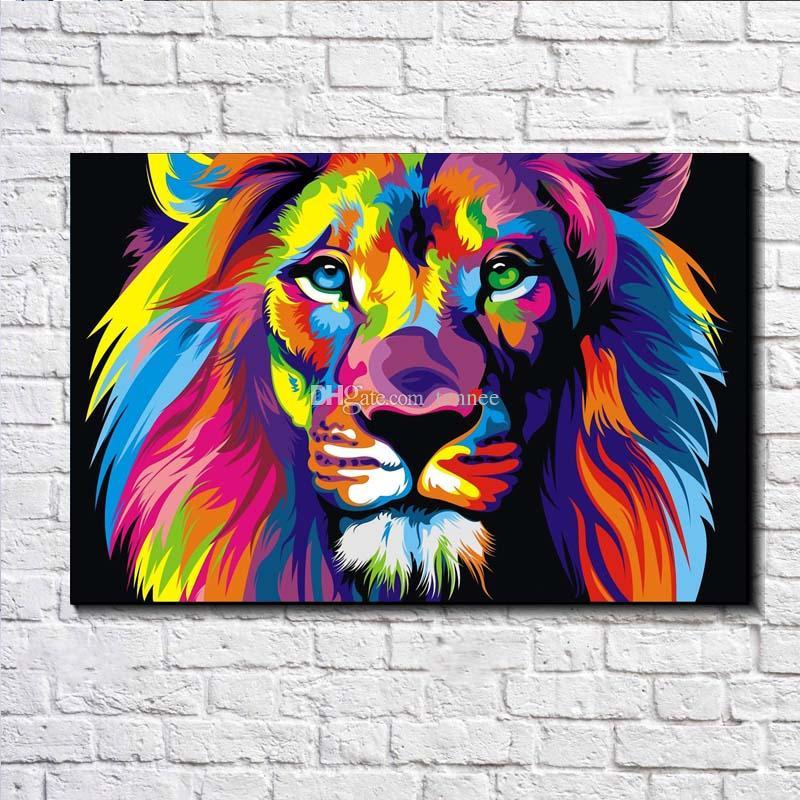 Dazzle Farbe Lion Malerei Bilder abstrakten Kunstdruck auf der Leinwand, Leinwand Poster Malerei Drucke, Wand Home Dekor Poster